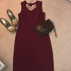 Ann Taylor Loft burgundy midi dress